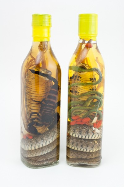 2 BOTTLES: SNAKE AND SCORPION WINE COMBO, 2 VIETNAMESE LIQUOR BOTTLES